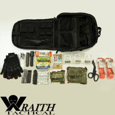 Wraith Tactical CARR Pack GEN 3 Utility Bag Large Black With Contents Displayed